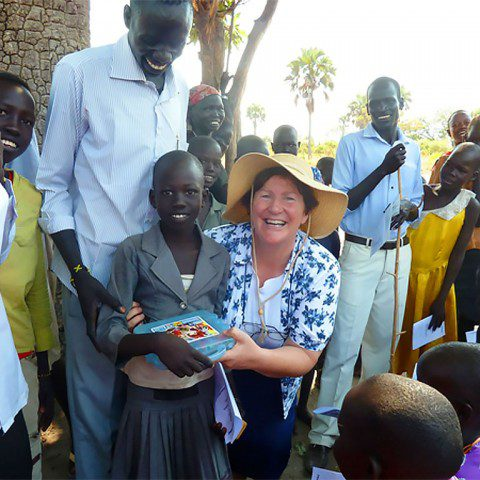 Sr Kathleen MacLennan ibvm at a primary school in Rumbek, South Sudan.