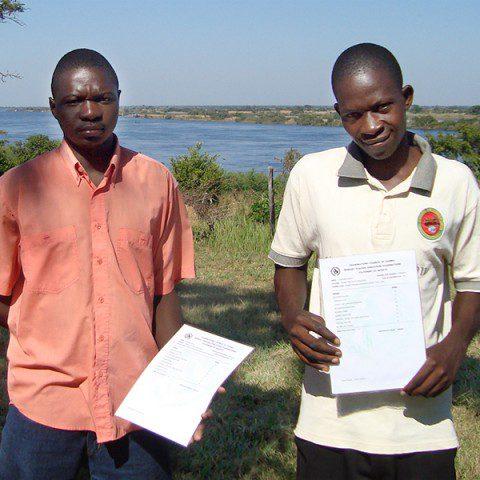 Graduates of the Teacher Training Program in Lukulu, Zamabi; Sepiso Kacana and Peter Kamboi Chinyama.