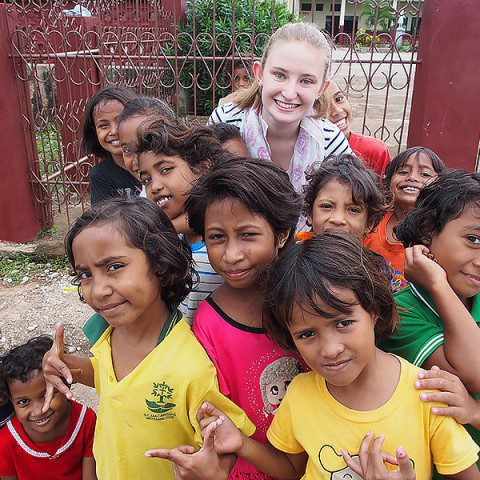 MWIA volunteer Grace van der Merwe with children from Laga in Timor Leste.