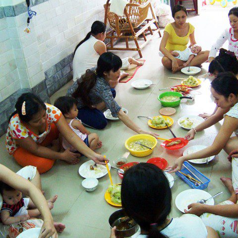 Young mothers and their babies at the Tan Phu Women's Shelter in Ho Chi Minh City, Vietnam. MWIA helps to fund this shelter which provides support for young, vulnerable, unmarried pregnant women who have come to the city from rural areas.